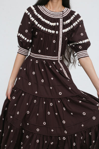 Ulla Johnson Innika Dress in Chocolate on model view front
