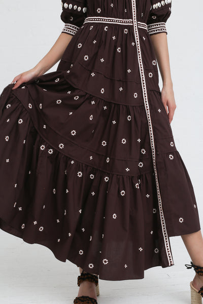 Ulla Johnson Innika Dress in Chocolate on model view skirt detail