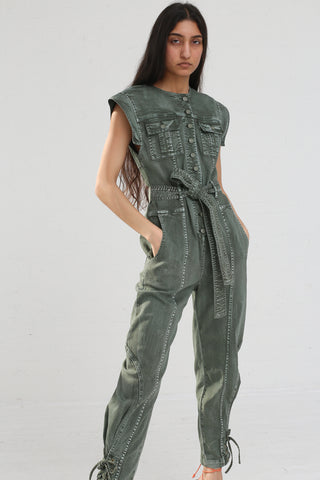 Ulla Johnson Adair Jumpsuit in Army on model view front
