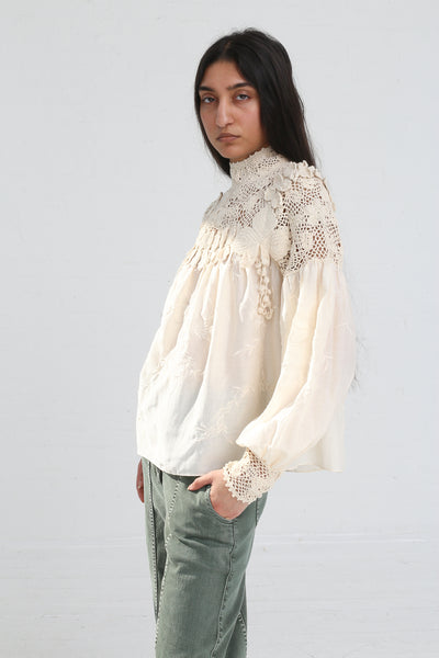 Ulla Johnson Theodora Blouse in Natural on model view side