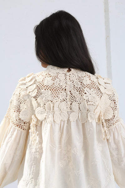 Ulla Johnson Theodora Blouse in Natural on model view back