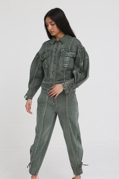 Ulla Johnson Kingston Jean in Army on model view front