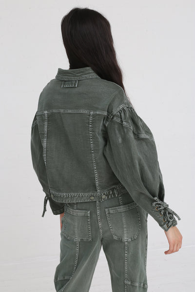 Ulla Johnson Atticus Jacket in Army on model view back