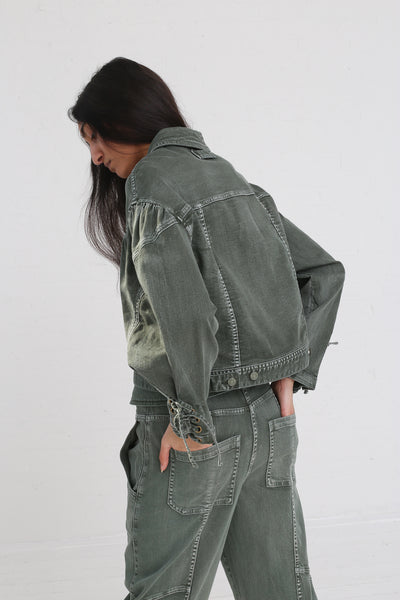 Ulla Johnson Kingston Jean in Army on model view back