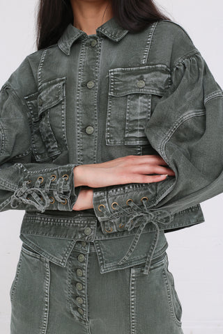 Ulla Johnson Atticus Jacket in Army on model view cuff detail