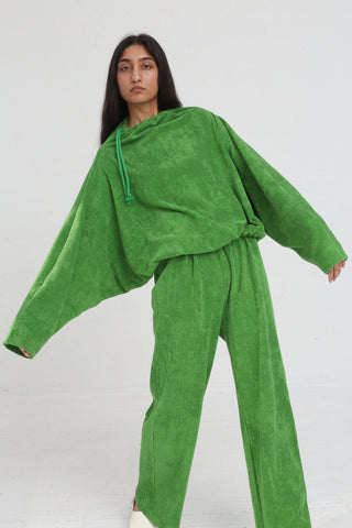 Baserange Douglas Pants Rib Terry Fleece in Grass Green on model view front