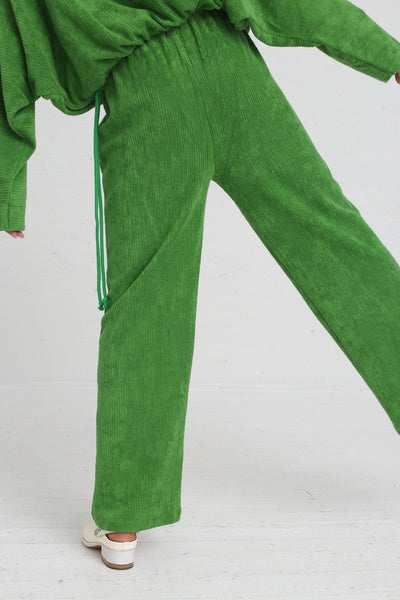 Baserange Douglas Pants Rib Terry Fleece in Grass Green on model view bacl