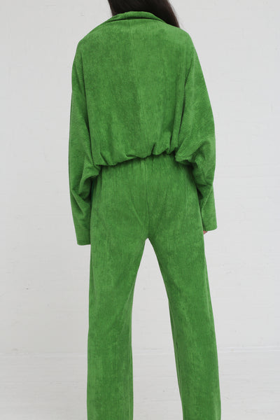 Baserange Douglas Pants Rib Terry Fleece in Grass Green on model view back