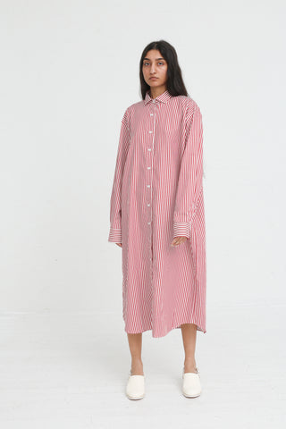 Baserange Ole Shirt Dress Popeline in Red Stripe on model view front