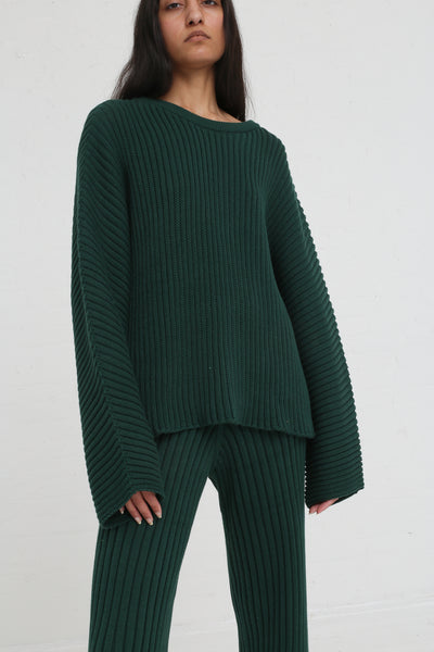 Baserange Kai Sweater Cotton Rib in Dark Green on model view front