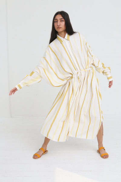 Marrakshi Life Oversized Long Shirt in Ecru / Besara / Mimosa on model view front