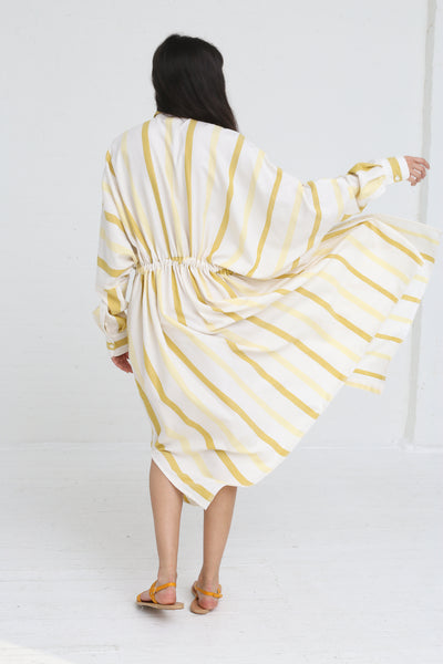 Marrakshi Life Oversized Long Shirt in Ecru / Besara / Mimosa on model view back