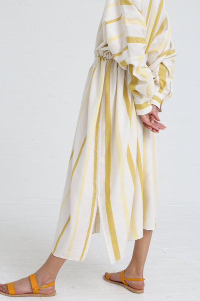 Marrakshi Life Oversized Long Shirt in Ecru / Besara / Mimosa on model view side