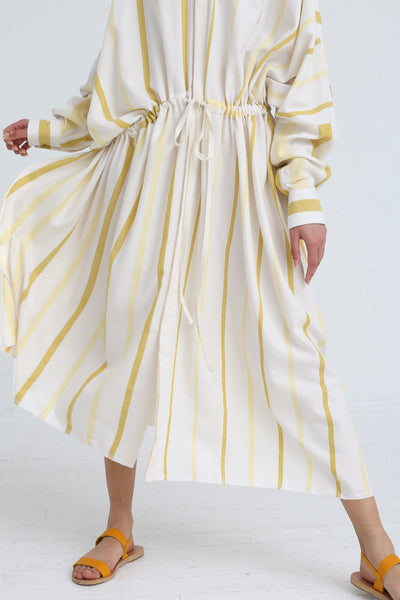 Marrakshi Life Oversized Long Shirt in Ecru / Besara / Mimosa on model view front skirt