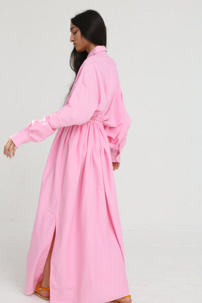 Marrakshi Life Oversized Long Shirt w/ Drawstring in Cosmos on model view side