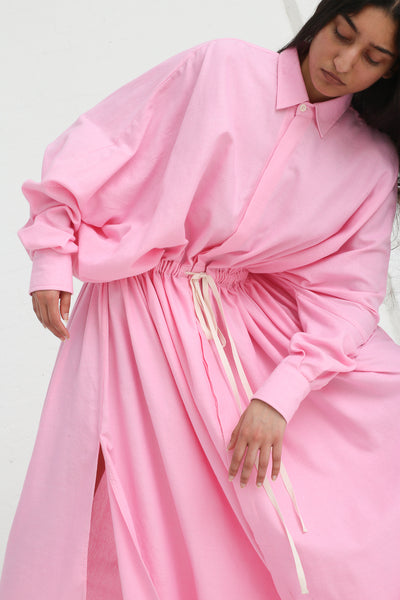 Marrakshi Life Oversized Long Shirt w/ Drawstring in Cosmos on model view waist details