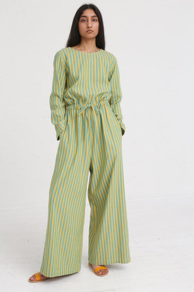 Marrakshi Life Round Collar Wide Leg Jumpsuit in Aqua / Besara on model view front