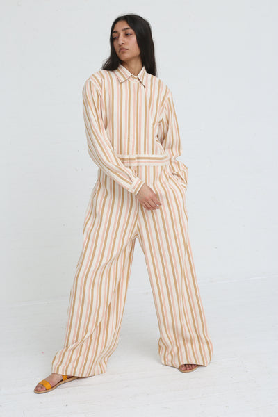 Marrakshi Life Wide Leg Long Sleeve Jumpsuit in Cream / Tan / Light Pink Stripe on model view front