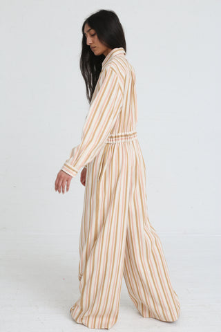Marrakshi Life Wide Leg Long Sleeve Jumpsuit in Cream / Tan / Light Pink Stripe on model view back