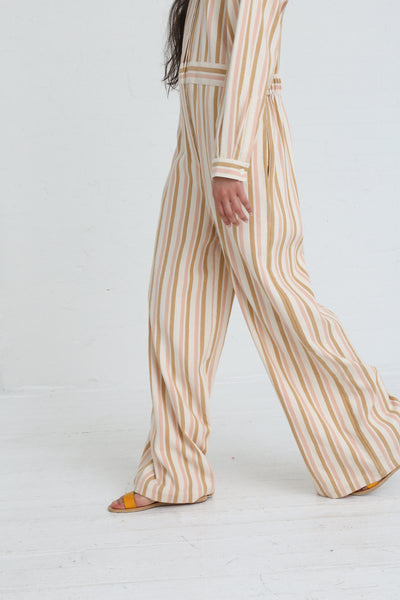 Marrakshi Life Wide Leg Long Sleeve Jumpsuit in Cream / Tan / Light Pink Stripe on model view side