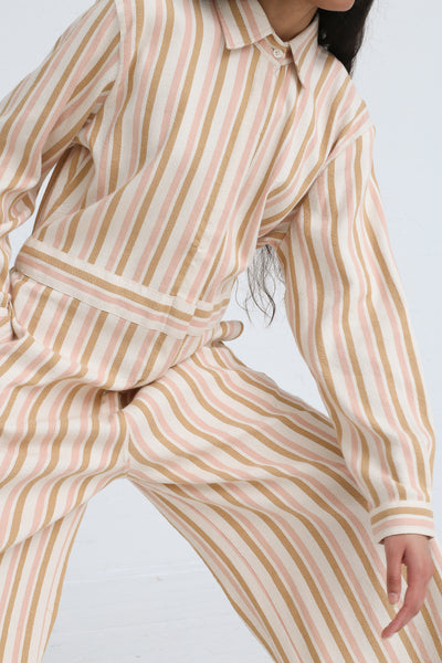 Marrakshi Life Wide Leg Long Sleeve Jumpsuit in Cream / Tan / Light Pink Stripe on model view waist detail