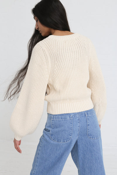 Clement Sweater in Natural on model view back