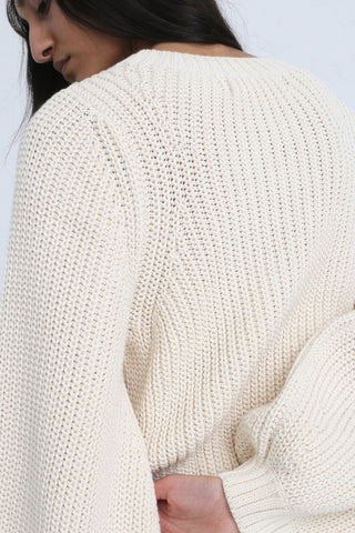 Clement Sweater in Natural on model view back shoulder detail