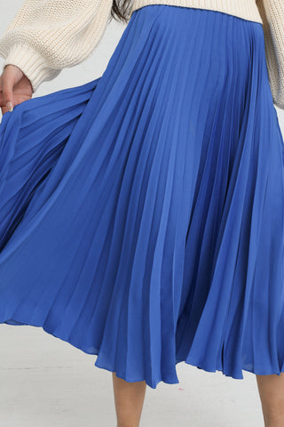 Shaina Mote Aster Skirt in Antique Blue on model view pleat detail