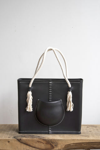 Pocket Tote Bag in Black