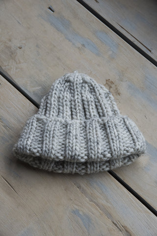 Fold Knit Hat in White with Black Fleck