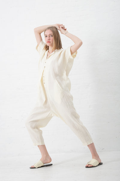 Black Crane Kite Jumpsuit in Cream | Oroboro Store | New York, NY