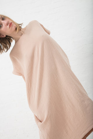 Black Crane Pleated Cocoon Dress Linen Woven in Peach | Oroboro Store | New York, NY