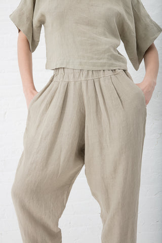 Black Crane Carpenter Pants Linen Woven in Cement | Oroboro Store | New York, NY