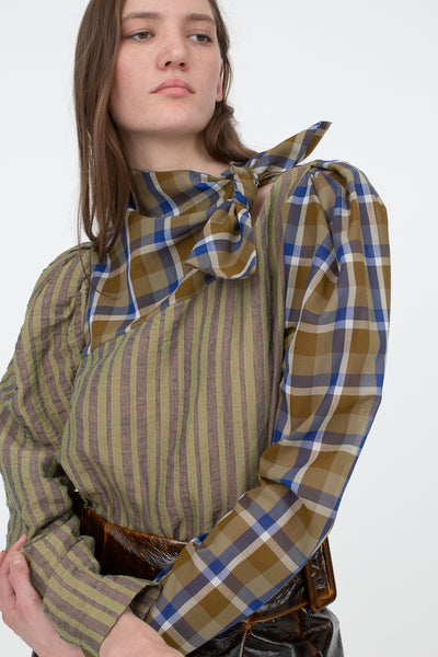 Rejina Pyo Ines Blouse in Japanese Wool Blend Voile Check + Cotton Blend Stripe Green | Oroboro Store | New York, NY