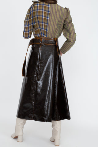 Regina Pyo Ellis Skirt in Laminated Brown | Oroboro Store | New York, NY