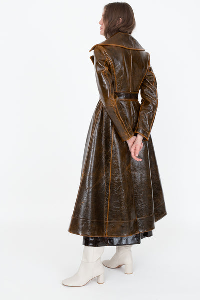 Rejina Pyo Rhea Trench in Laminated Brown | Oroboro Store | New York, NY