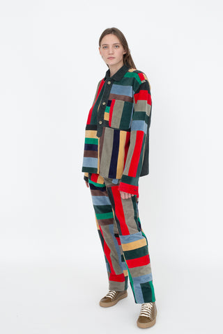 Bode Corduroy Patchwork Pullover in Multi | Oroboro Store | New York, NY