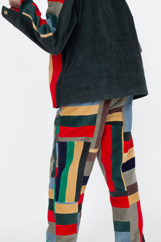 Bode Corduroy Patchwork Trouser Side-Tie in Multi, Back View Cropped Shoulder to Below Knee