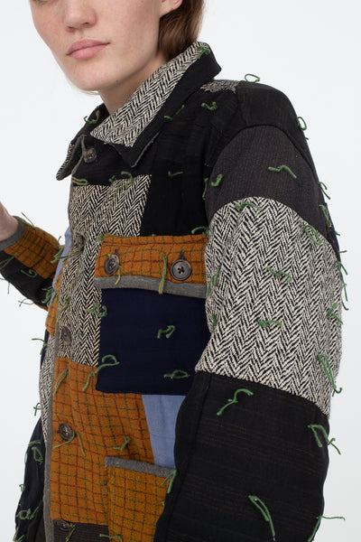 Bode Quilted Workwear Jacket in Multi Blue/Brown, Side View Cropped at Waist
