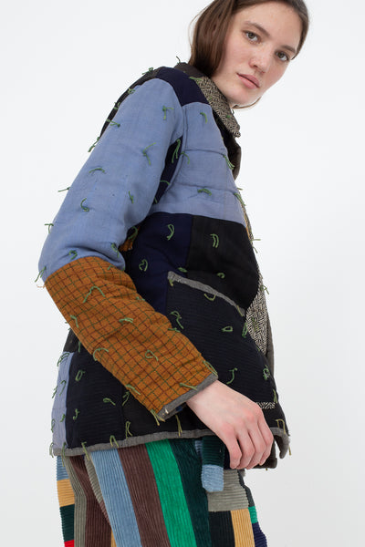 Bode Quilted Workwear Jacket in Multi Blue/Brown, Side View Cropped Above Knee