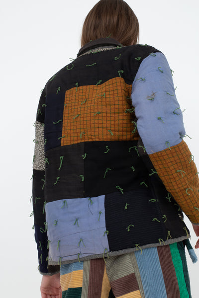 Bode Quilted Workwear Jacket in Multi Blue/Brown, Back View Cropped Below Waist