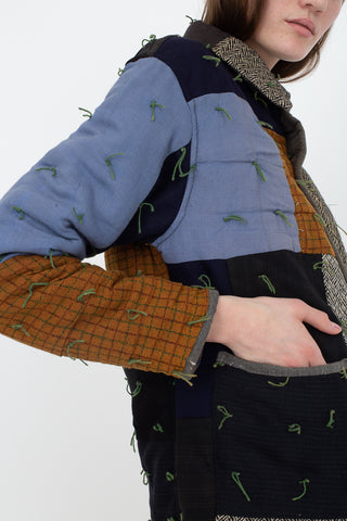 Bode Quilted Workwear Jacket in Multi Blue/Brown, Side View Cropped Hand in Pocket, Oroboro Store, New York, NY