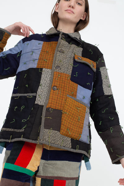 Bode Quilted Workwear Jacket in Multi Blue/Brown, Front View Cropped Below the Waist
