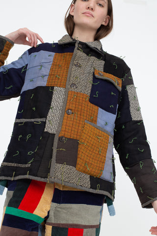 Bode Quilted Workwear Jacket in Multi Blue/Brown | Oroboro Store | New York, NY