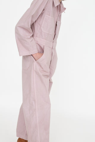 As Ever Zip Jumpsuit in Lavender Side View, Oroboro Store, New York, NY