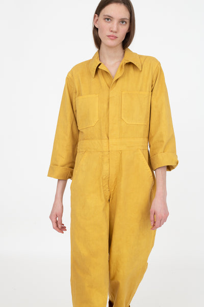 As Ever Zip Jumpsuit in Goldenrod Front View Close Up Cropped at Leg