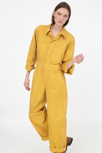 As Ever Zip Jumpsuit in Goldenrod Front View, Oroboro Store, New York, NY