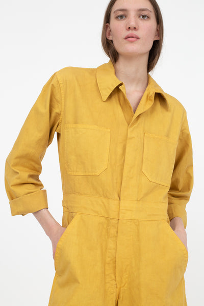 As Ever Zip Jumpsuit in Goldenrod Front View Close Up