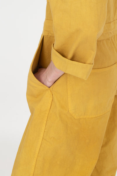 As Ever Zip Jumpsuit in Goldenrod Side View Close Up