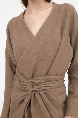 Cosmic Wonder Ancient Folk Ramie Linen Wool Kimono Shirt in Beige | Oroboro Store | New York, NY